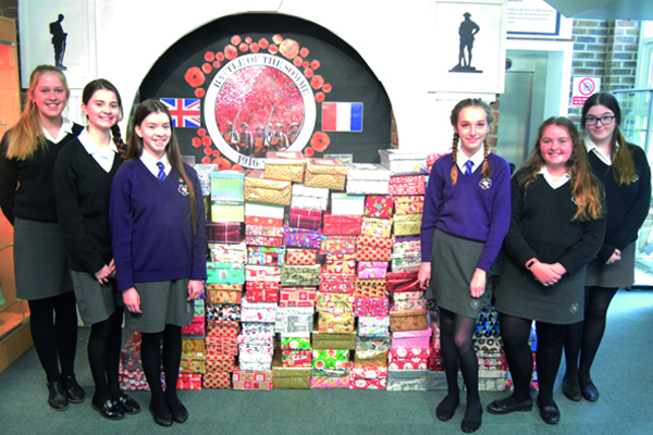 Highcliffe School Smashes 500 Shoebox Target.