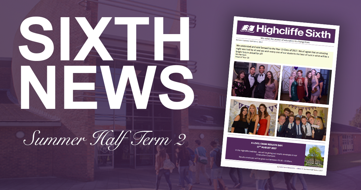Sixth Form Newsletter Summer Half Term 2